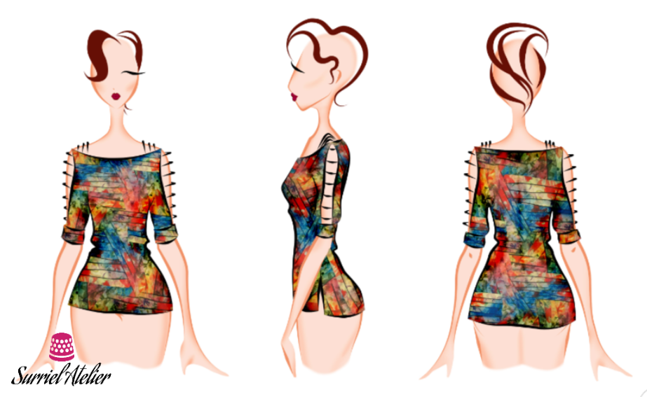 Boceto blusa estampada manga abierta
