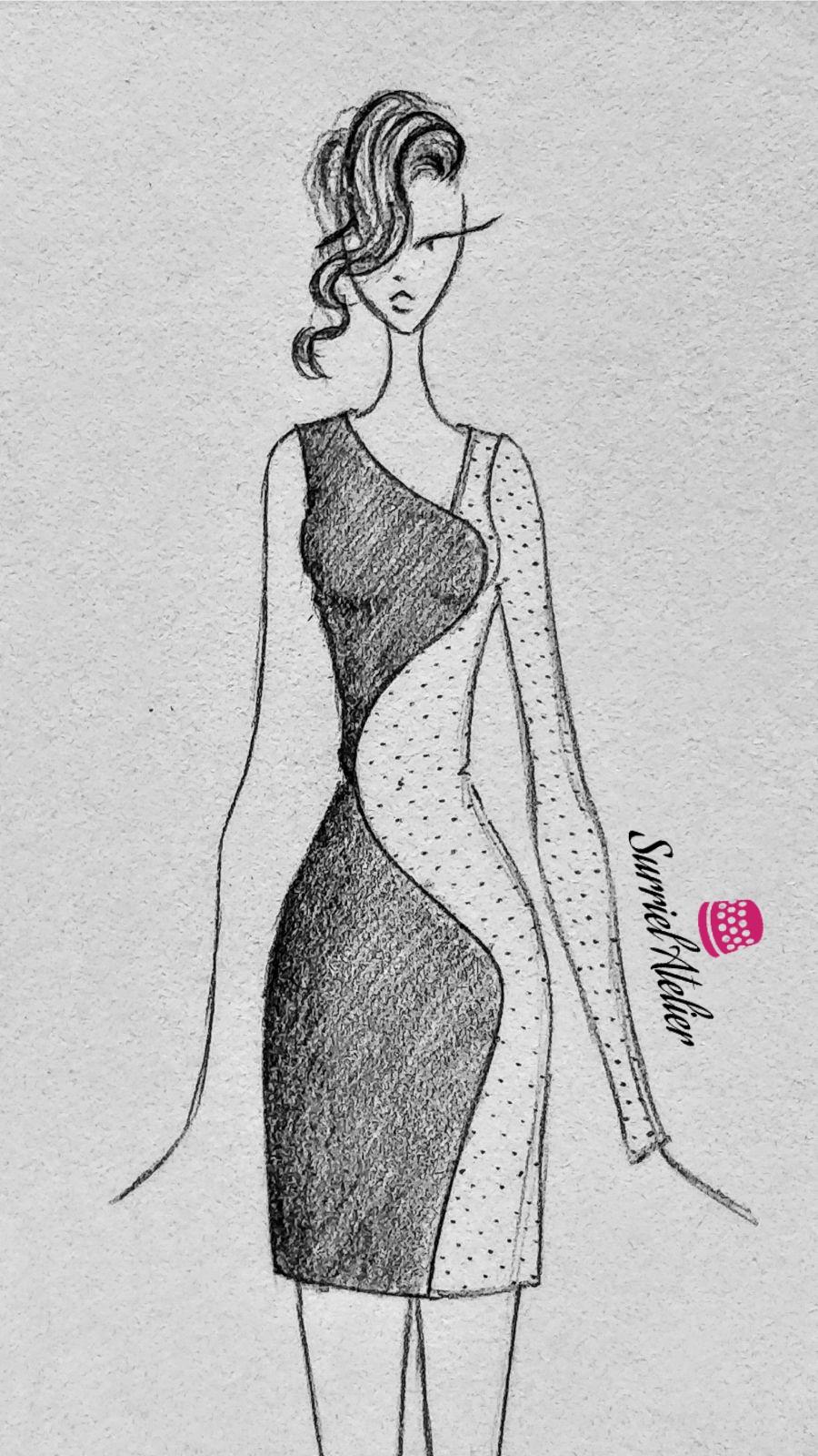 Boceto vestido de fiesta transparencia