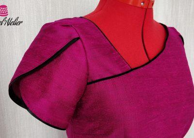 Detalle manga vestido de seda a medida modista barcelona surriel atelier
