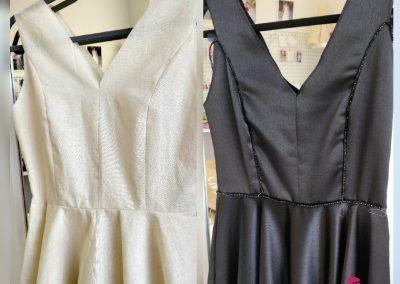 Glasilla y vestido a medida con forma de A en crepe negro con pedrería ne cintura modista Barcelona Surriel Atelier